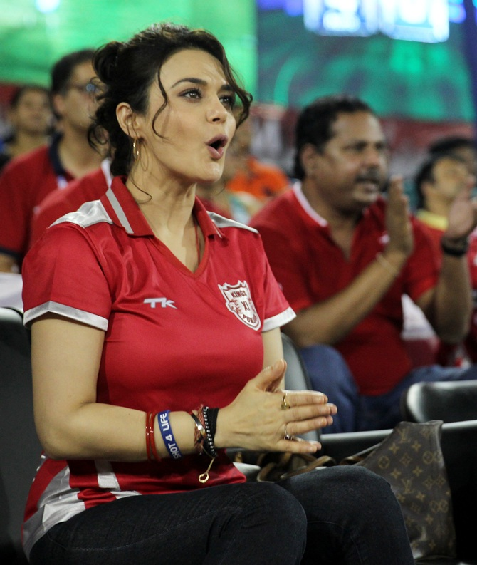 The match had plenty of action and Ms Zinta was hooked
