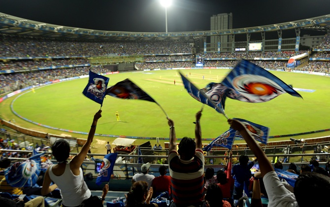 Fans at the Wankhede stadium, Mumbai