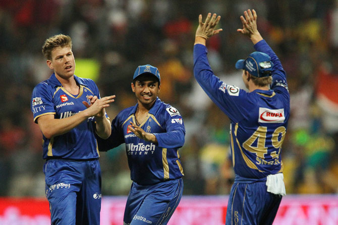 Rajasthan Royals' James Faulkner being congratulated by teammates