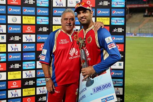 Royal Challengers Bangalore owner Vijay Mallya and Yuvraj Singh