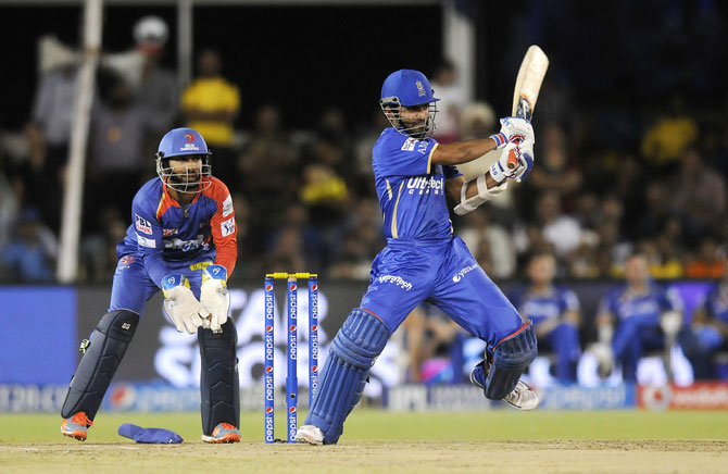 Ajinkya Rahane of Rajasthan Royals hits a shot