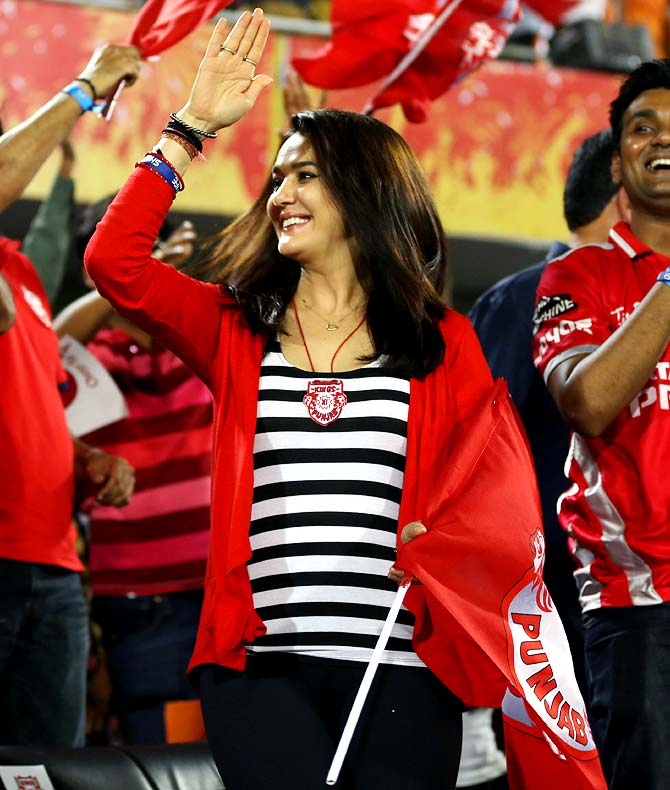 Kings XI Punjab co-owner Preity Zinta celebrates victory.