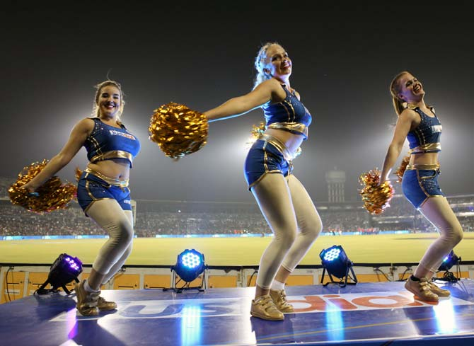 Cheerleaders of Mumbai Indians perform.