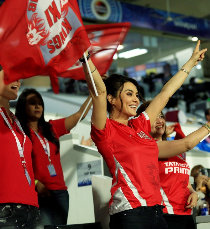 Preity Zinta cheers for her team
