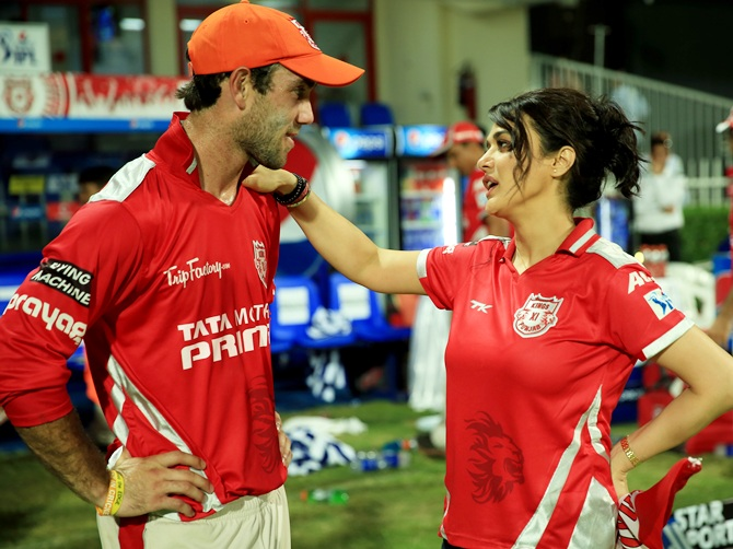Preity Zinta with Glenn Maxwell