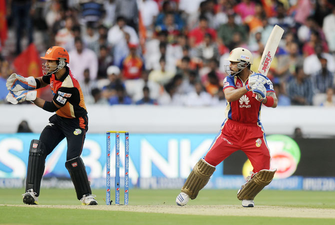 Bangalore captain Virat Kohli hits a shot