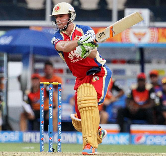 RCB's AB de Villiers hits a shot