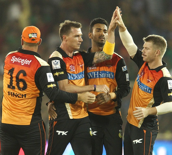 Sunrisers Hyderabad players celebrate a wicket
