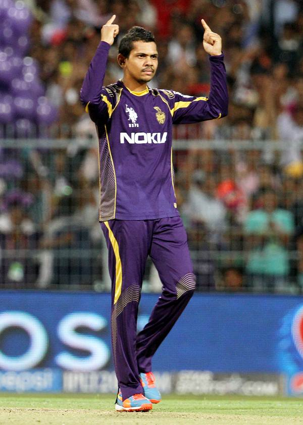 Sunil Narine exults after claiming his fourth wicket of the match.