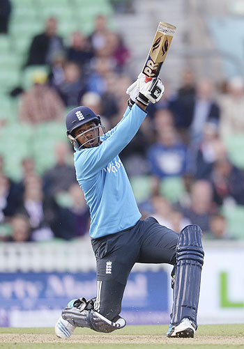 England's Chris Jordan hits a six during the 1st One-Day International against Sri Lanka at the Oval cricket ground in London on Thursday