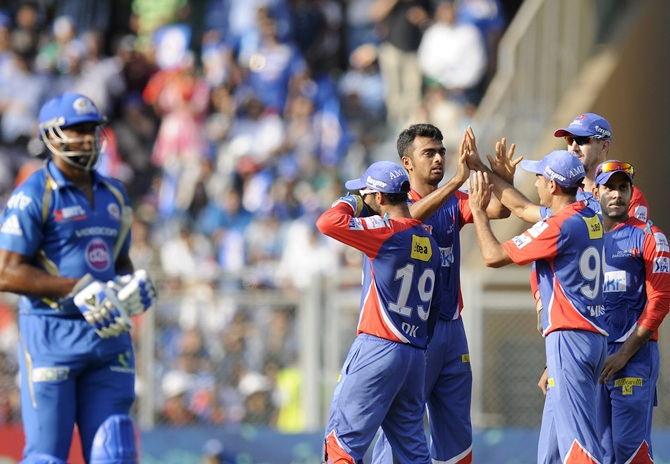 Jaydev Unadkat of Delhi Daredevils celebrates the wicket of Kieron Pollard of Mumbai Indians.