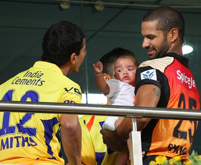 Shikhar Dhawan with his son