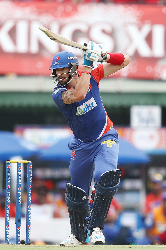 Kevin Pietersen captain of the Delhi Daredevils plays a drive into the covers during match against Kings XI Punjab