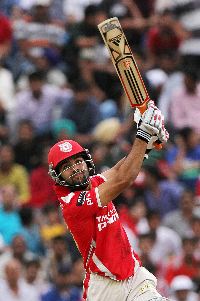 Kings XI Punjab's Manan Vohra in action against Delhi Daredevils on Sunday