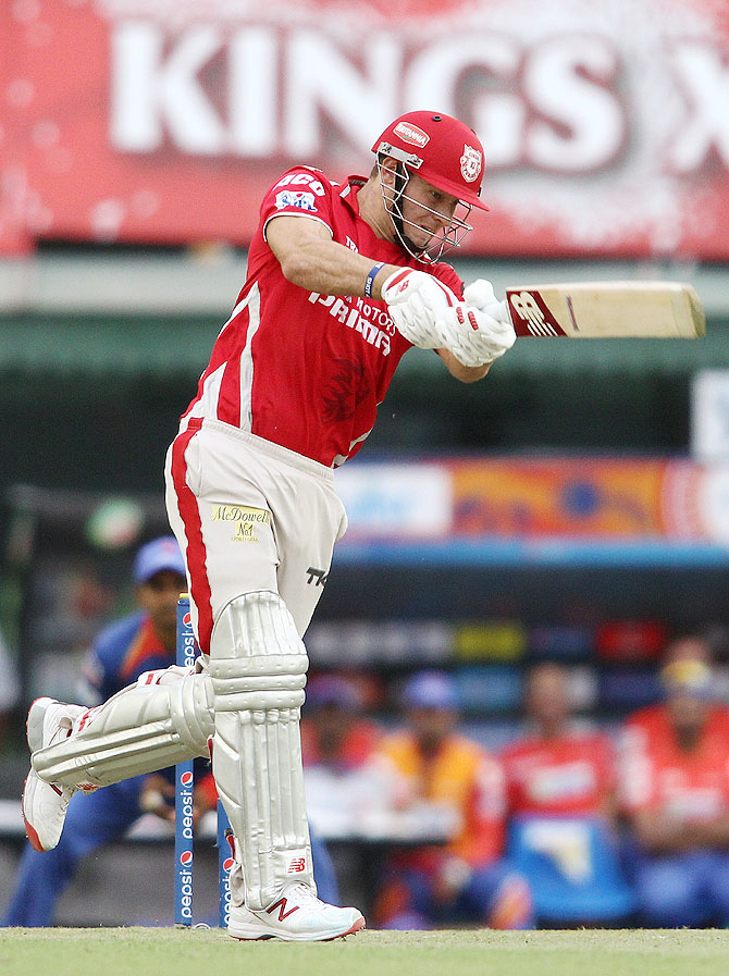David Miller plays a slog shot during the match against Delhi Daredevils on Sunday