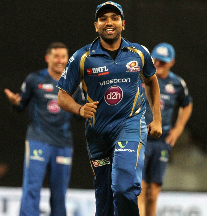 Rohit Sharma, captain of the Mumbai Indians, celebrate after making it to the play-offs.