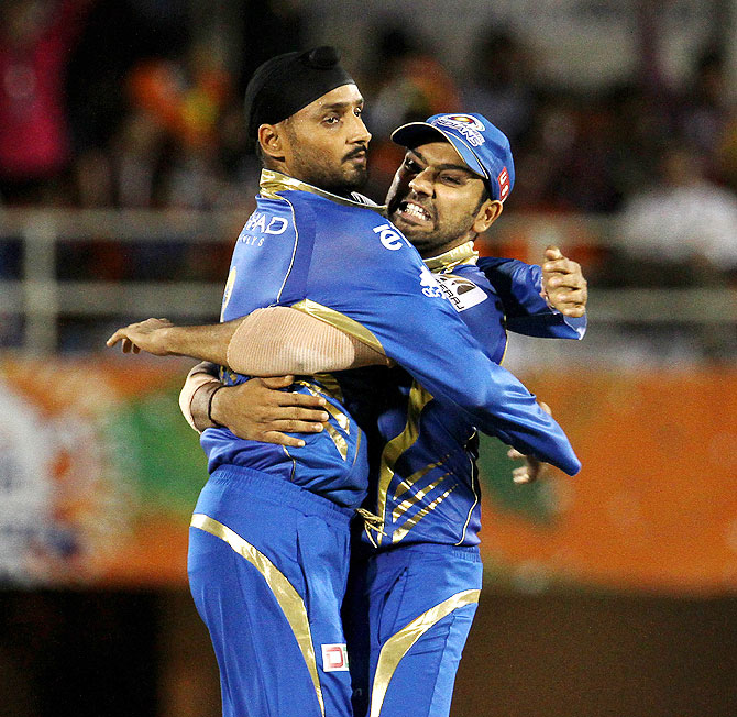 Harbhajan Singh and Rohit Sharma.