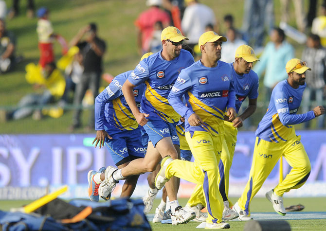 Chennai Super Kings players during a practice session