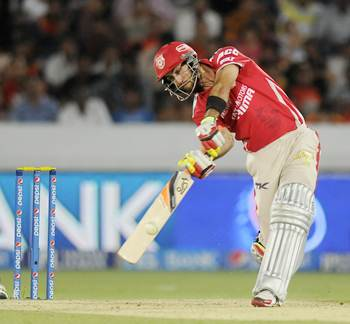 Kings XI Punjab's Glenn Maxwell hits a shot