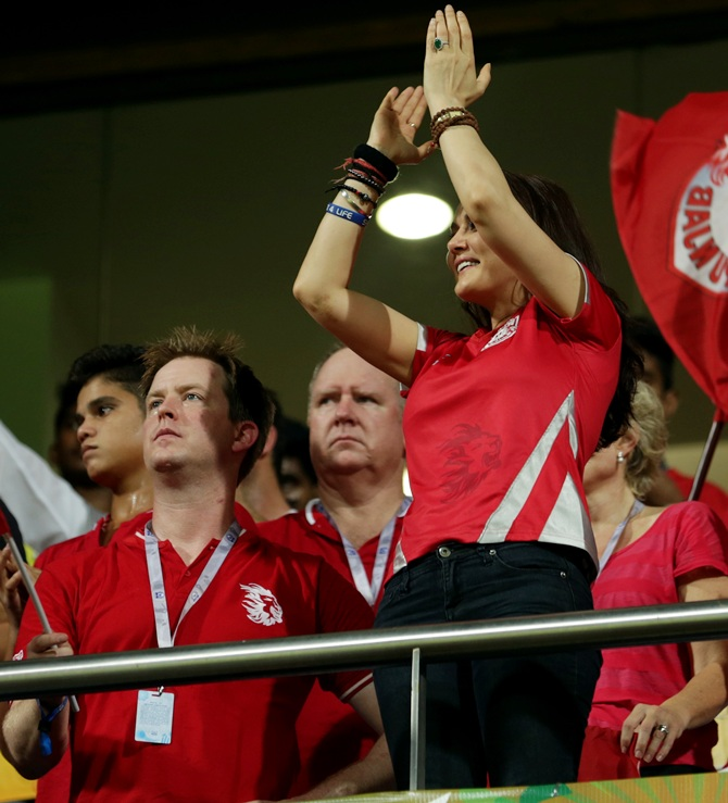 Preity Zinta celebrates a six scored by Kings XI Punjab.
