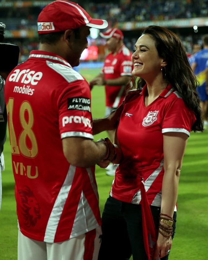 Virender Sehwag with Preity Zinta.