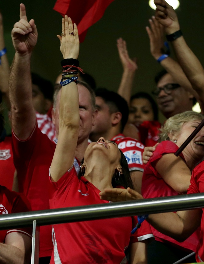 Preity Zinta and her supporters in the stands at the Wankhede celebrate.