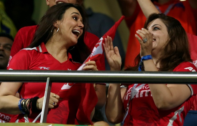 Preity Zinta and another Kings supporter.