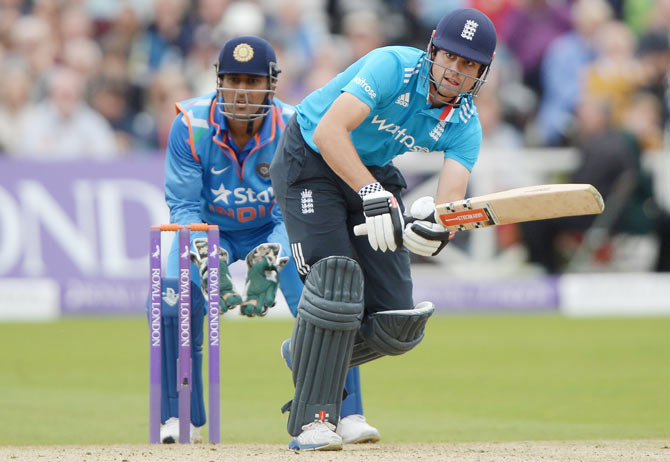 England captain Alastair Cook bats during the 3rd One-Day International against India at Trent Bridge