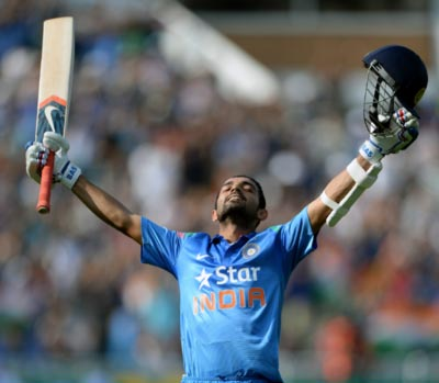 India opener Ajinkya Rahane celebrates reaching his century during the fourth One-Day International at Edgbaston, Birmingham
