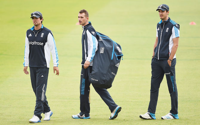 ngland players Alastair Cook, Alex Hales and Steven Finn