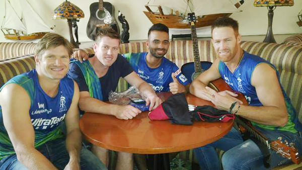 Rajasthan Royals players Shane Watson, James Faulkner, Ajinkya Rahane and Juan Theron before their team jersey launch on Monday