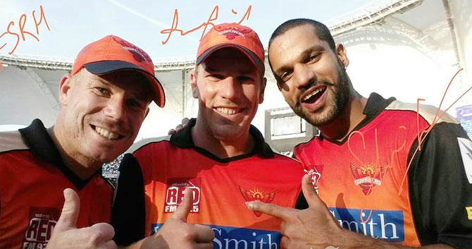 Sunrisers Hyderabad captain David Warner with teammate Shikhar Dhawan