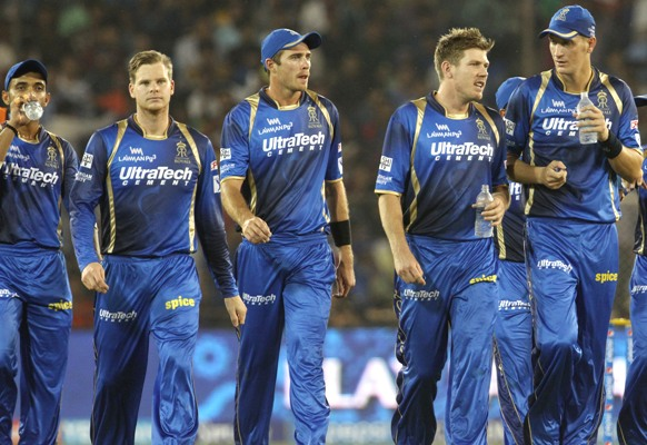 Rajasthan Royals players (from left) Ajinkya Rahane, Steven Smith, Tim Southee, James Faulkner and Chris Morris