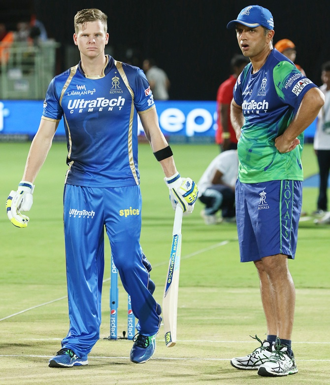 Rajasthan Royals' Steven Smith, right, with mentor Rahul Dravid