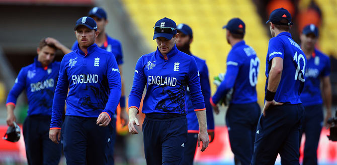 England captain Eoin Morgan leads his team off at the end of the ICC World Cup match against Sri Lanka