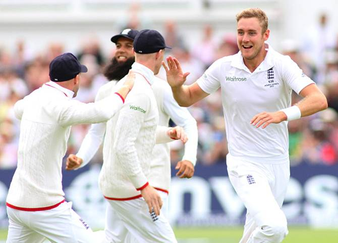 Stuart Broad celebrates the wicket of Michael Clarke