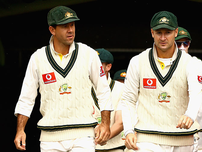 Ricky Ponting and Michael Clarke during an Ashes Test at the Melbourne Cricket Ground