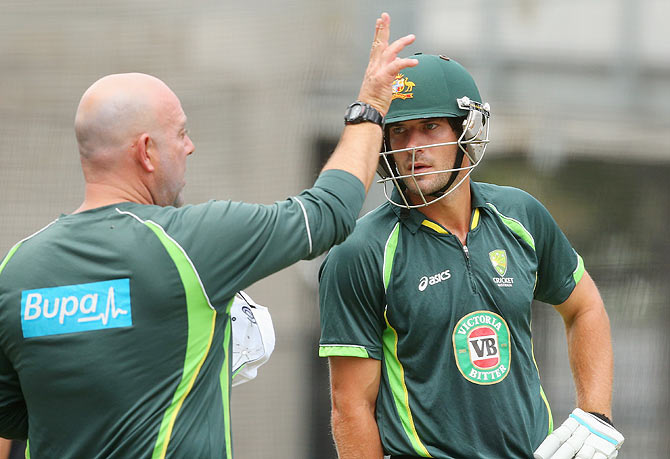Australia's Joe Burns with coach Darren Lehmann