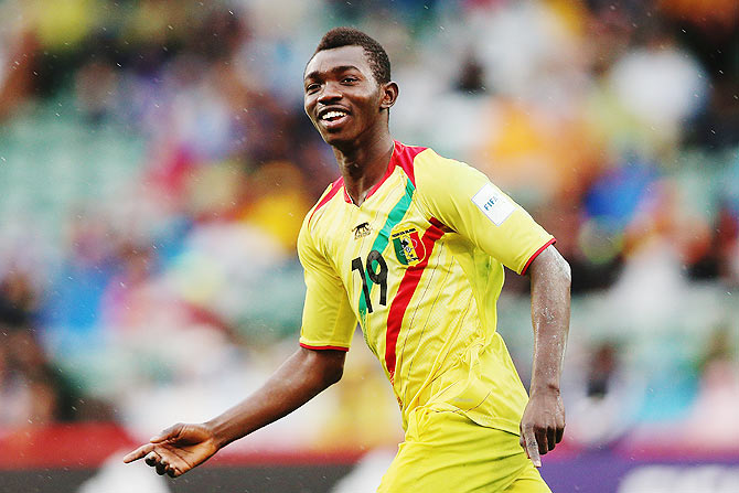Adama Traore of Mali celebrates after scoring a goal