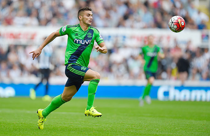 Southampton's Dusan Tadic in action during the Barclays Premier League match against Newcastle United at St James Park on Sunday, August 9