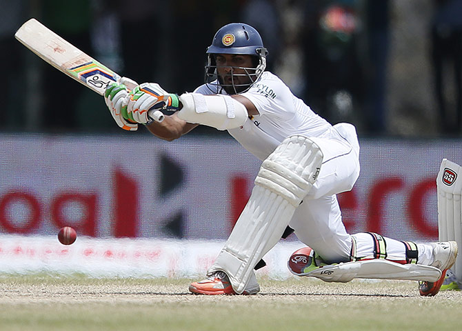 Sri Lanka's Dinesh Chandimal plays a shot