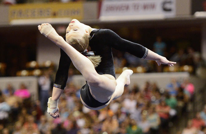 Bailie Key competes in the on floor exercise during senior P&G gymnastics championships at Bankers Life Fieldhouse