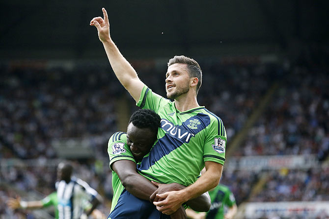 Southampton's Shane Long celebrates scoring their second goal against Newcastle during their English Premier League at St James's Park on Thursday, August 13