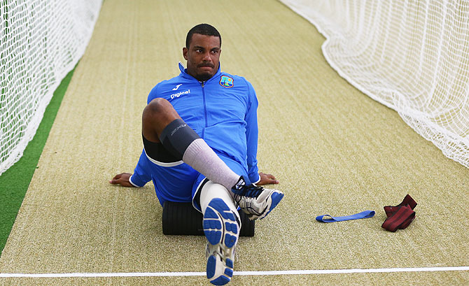 West Indies' Shannon Gabriel warms up during a West Indies training session