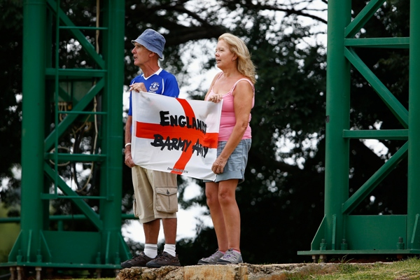 Two England fans show support for their team in South Africa