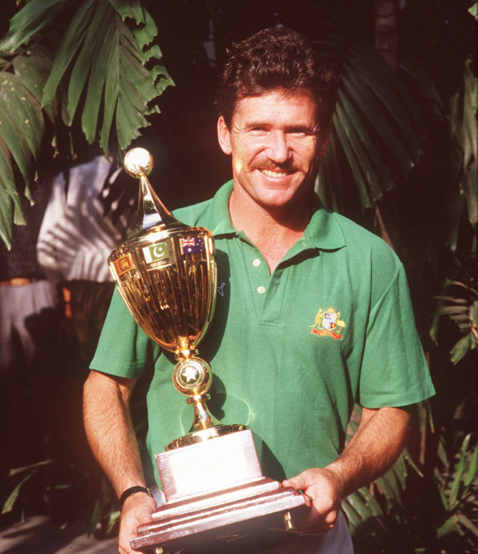 Allan Border poses with the World Cup after winning the 1987 World Cup in Calcutta