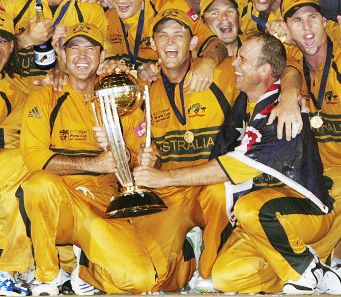 Australia's captain Ricky Ponting (left), wicketkeeper Adam Gilchrist (centre) and Matthew Hayden (front right) celebrate their victory over Sri Lanka in the 2007 World Cup final in Bridgetown. Barbados on April 28, 2007