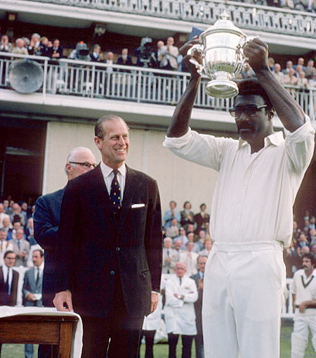 Clive Lloyd poses with the 1975 Prudential Cup