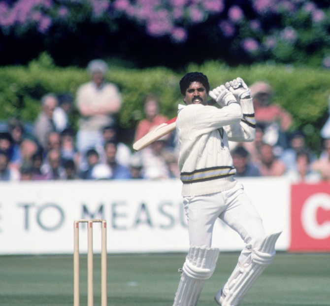 Indian Captain Kapil Dev during his record 175 not out off 138 balls against Zimbabwe in the 1983 World Cup