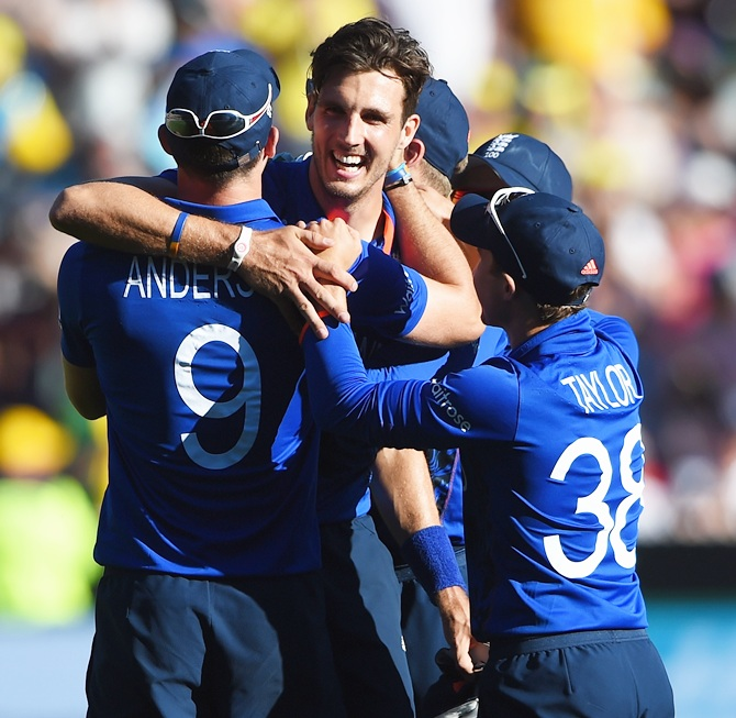 Steven Finn of England celebrates after taking a hat-trick